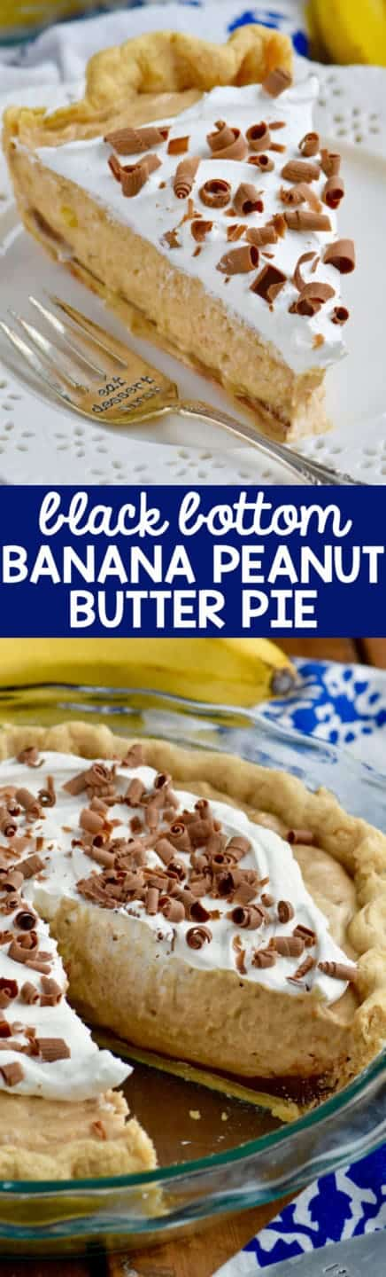 This Black Bottom Banana Peanut Butter Pie has a chocolate ganache bottom and delicious creamy filling.  Peanut butter, banana, and chocolate together for the win!