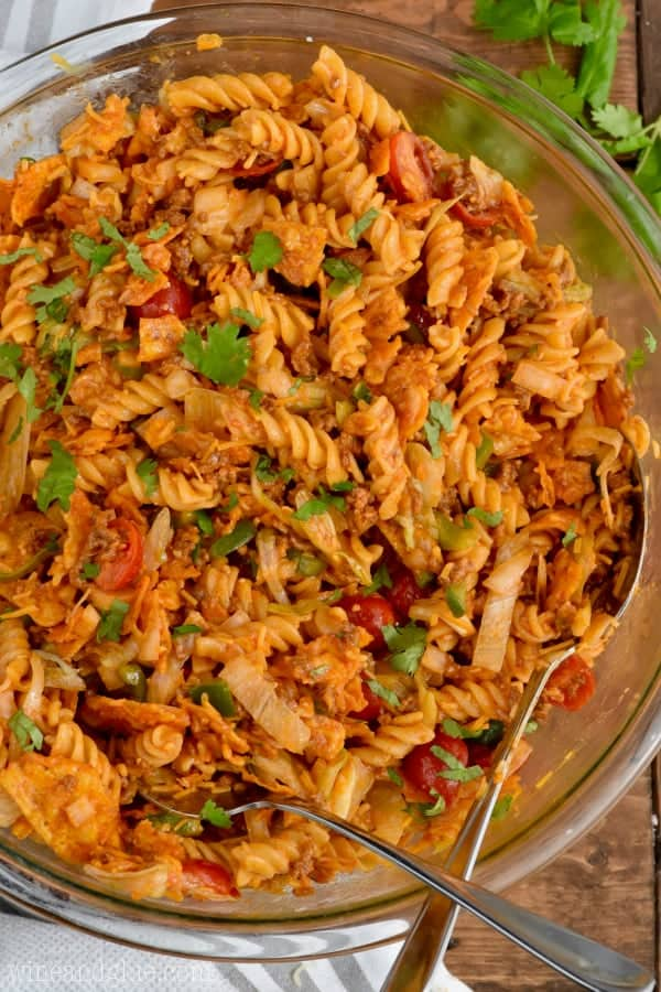 This Taco Pasta Salad is a family favorite! It's perfect for BBQs, potlucks and big family gatherings!