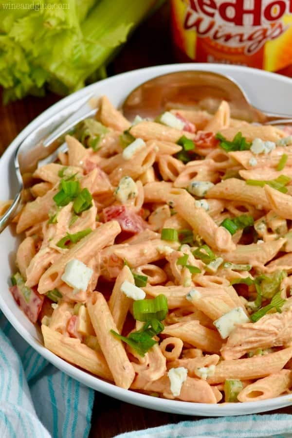 bowl of buffalo ranch chicken pasta salad