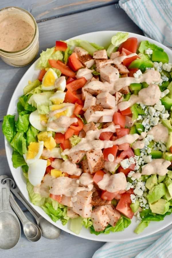 cajun cobb salad recipe covered in cobb salad dressing