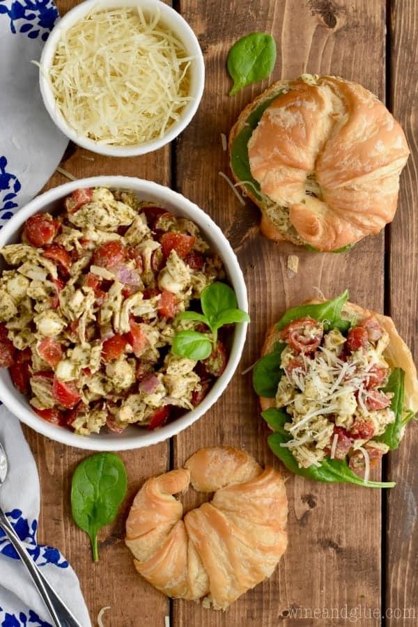 a few Italian Pesto easy Chicken Salad recipe sandwiches