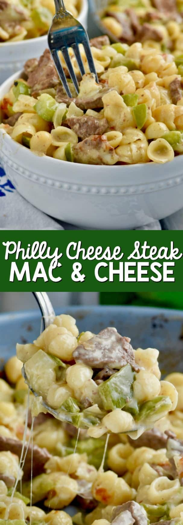 This Philly Cheesesteak Mac and Cheese is only FIVE ingredients! And its a dinner you can feel great about giving to your family!