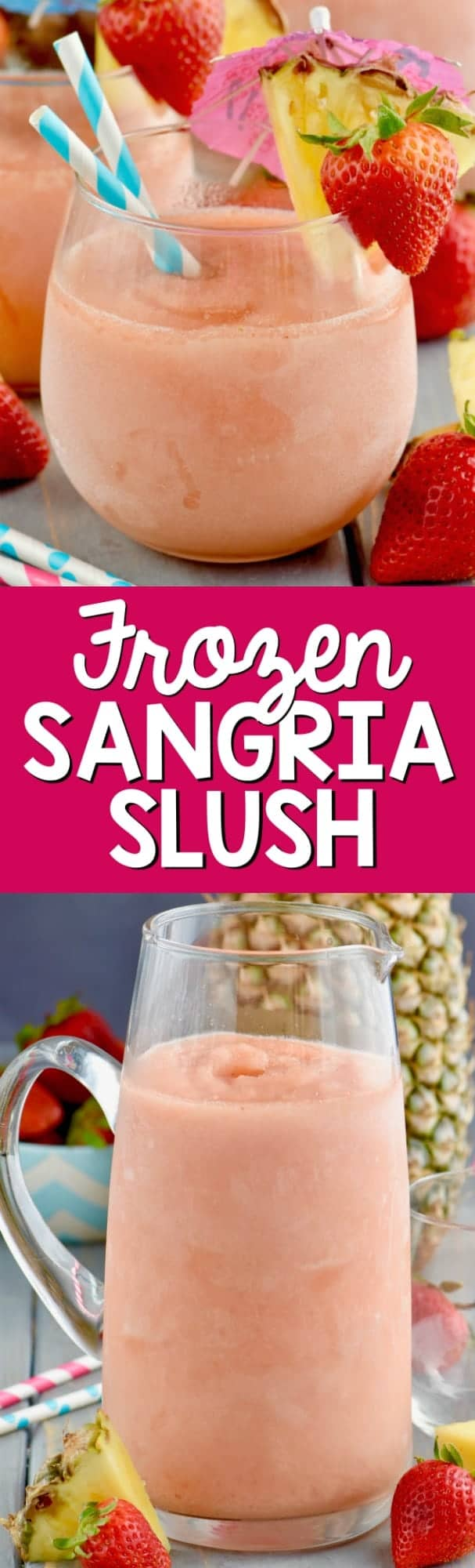 This Frozen Sangria Slush is just five ingredients, comes together in the blender, and will be the hit of the party! Make a double batch!