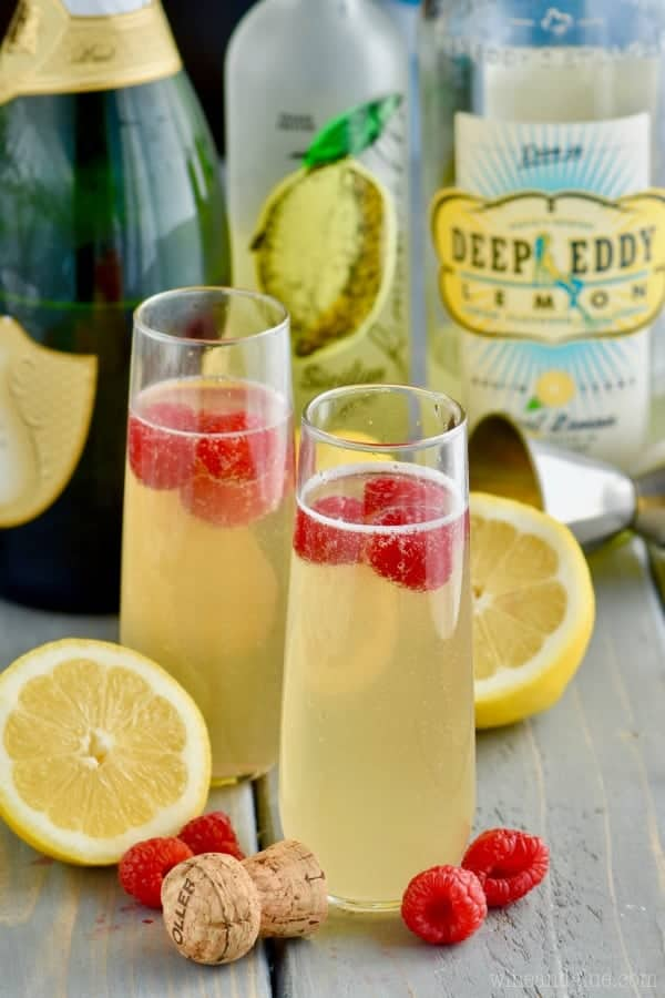 This Lemon Champagne Cocktail is just three little ingredients!  Make one for you or a whole batch to share!
