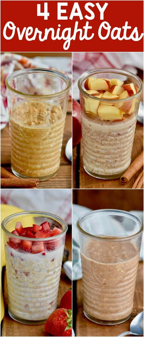 Overnight Oats in four different recipes that are deliciously perfect for a busy weekday morning!