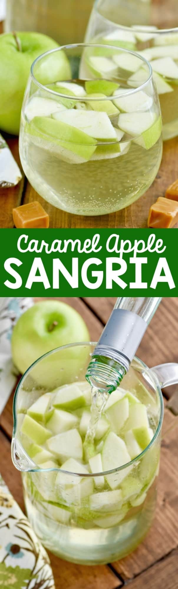 The Caramel Apple Sangria has sliced apple slices in the pitcher and in the glass.