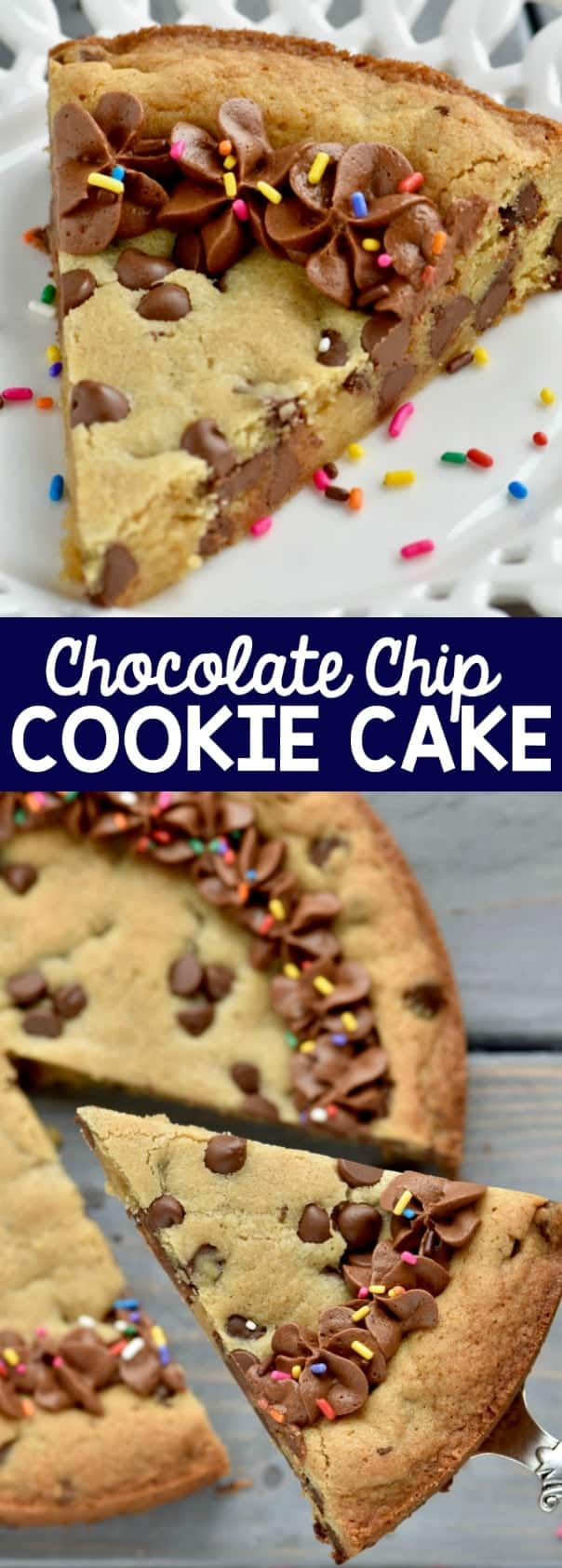 This Chocolate Chip Cookie Cake is perfect for celebrating with! Delicious and easy!
