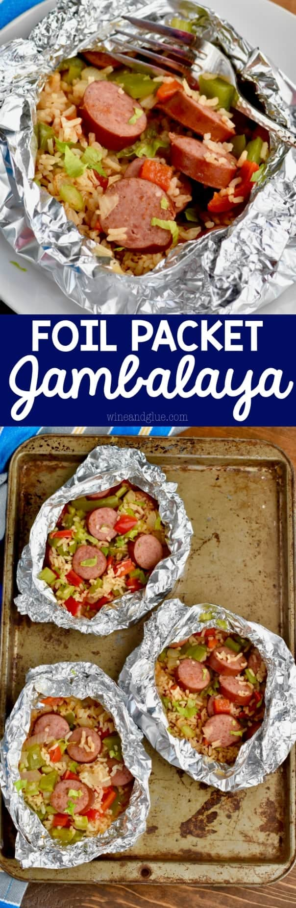 This Foil Packet Jambalaya Dinner is only 30 minutes start to finish and is so full of delicious flavor! Make it on the grill or in the oven!