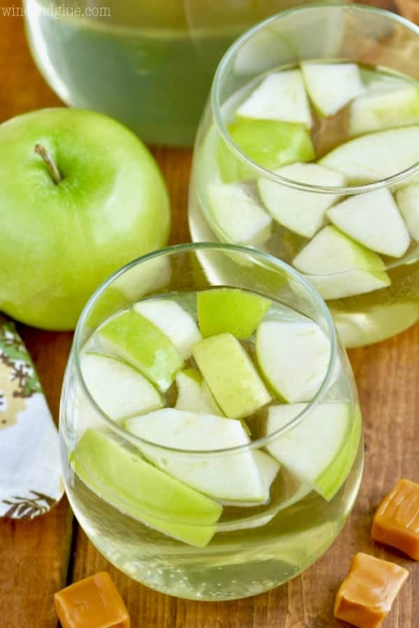It tastes just like a caramel apple and Caramel Apple Sangria is only FOUR ingredients and it is delicious!