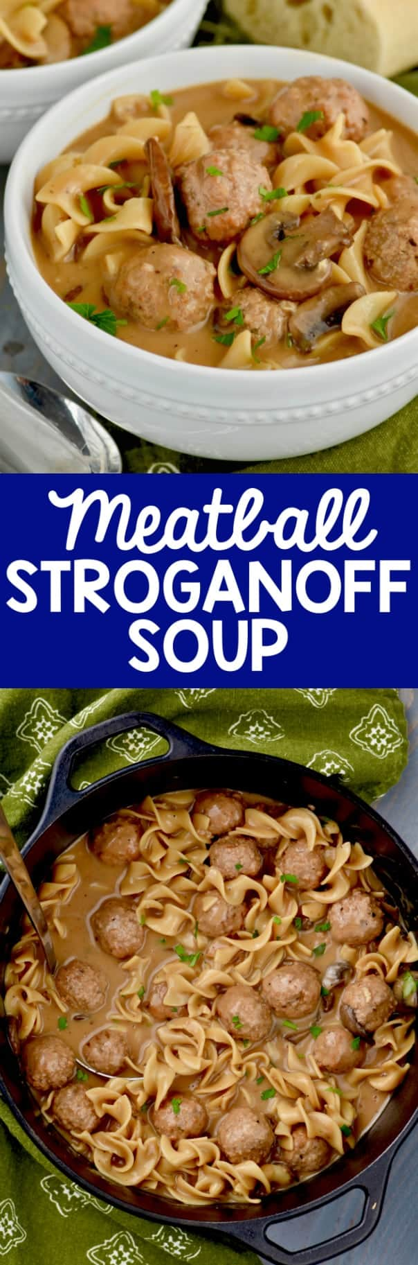 This Meatball Beef Stroganoff soup has the most creamy rich broth from scratch. So perfect for dinner!