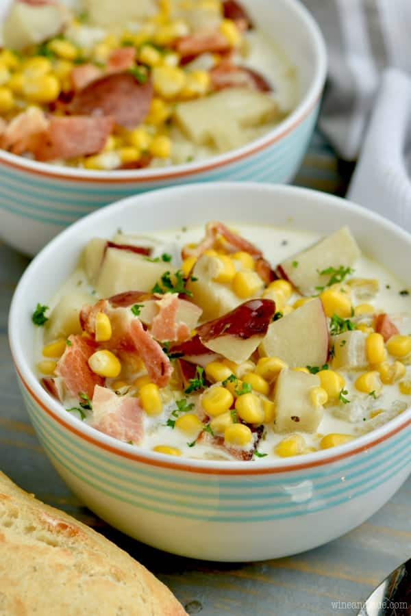This Slow Cooker Bacon Potato Corn Chowder is made so fast using your crock pot and is so tasty.