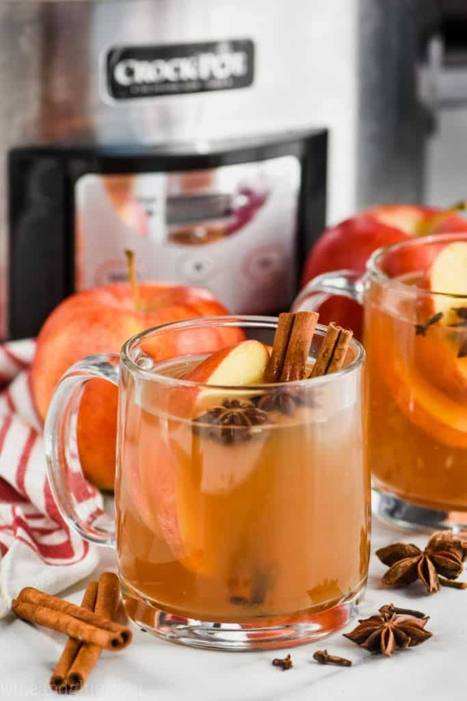 a clear mug of spiced apple cider in front of a crockpot garnished with apple slices, cinnamon sticks, and star of anise