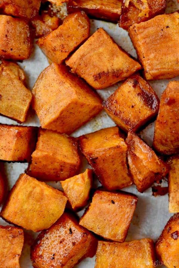 up close picture of cubed sweet potatoes