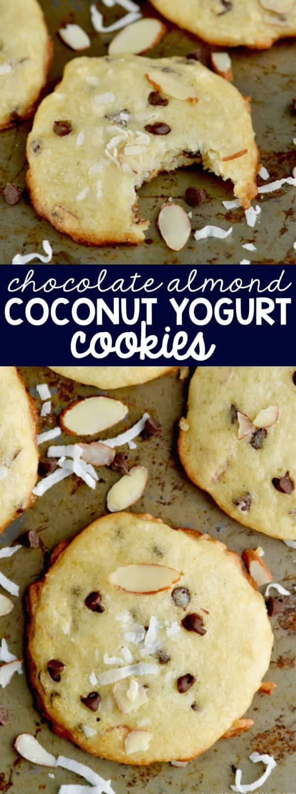 These Chocolate Almond Coconut Yogurt Cookies are chewy, delicious, and the perfect flavor!