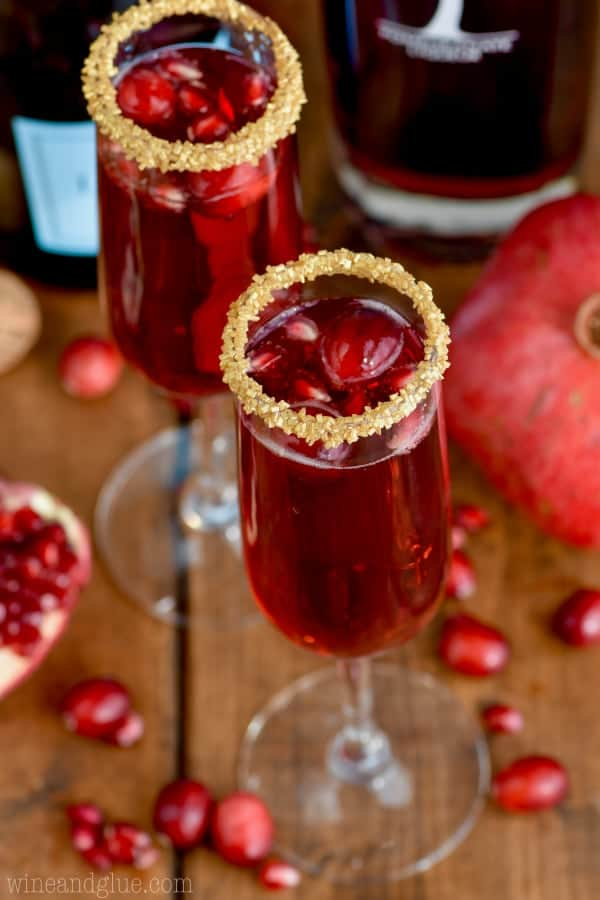 This Cranberry Pomegranate Champagne Cocktail is the perfect holiday cocktail!