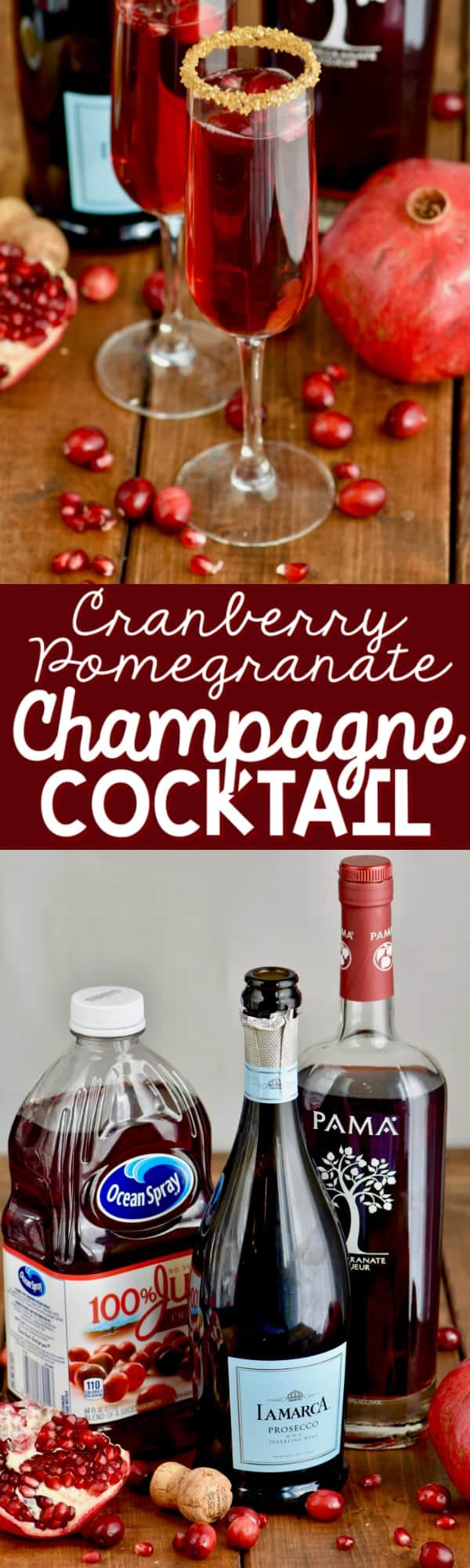 This Cranberry Pomegranate Champagne Cocktail is the perfect holiday drink! Made with pomegranate liquor, cranberry juice, and champagne, you are only three ingredients away from the best holiday drink!