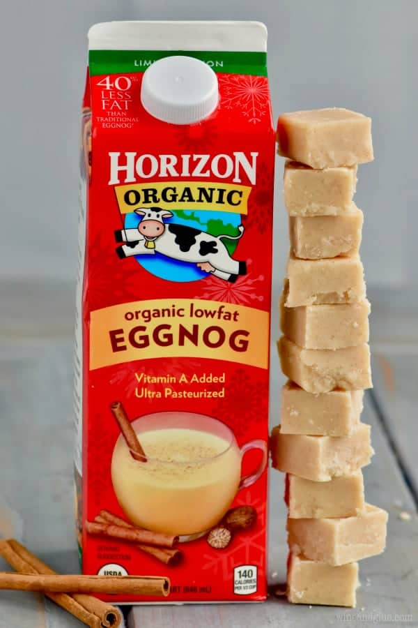This Eggnog Fudge is made with Horizon's delicious low fat eggnog!