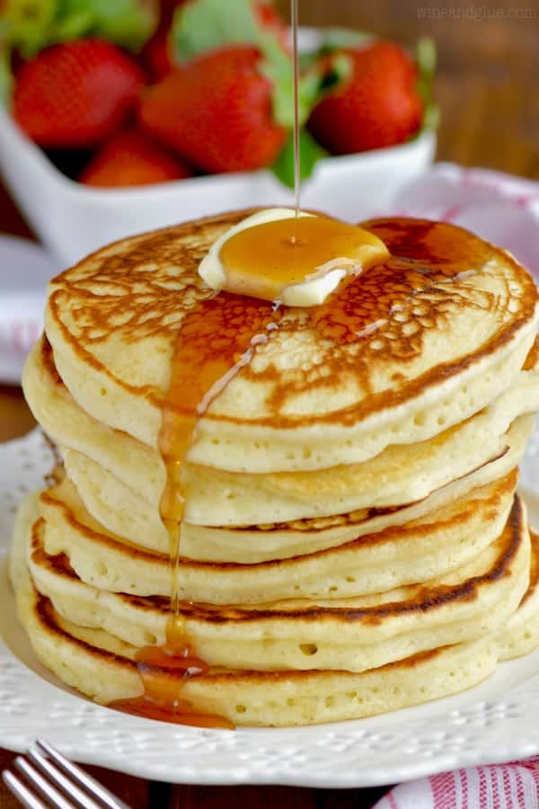 You are going to love this homemade fluffy buttermilk pancake recipe!