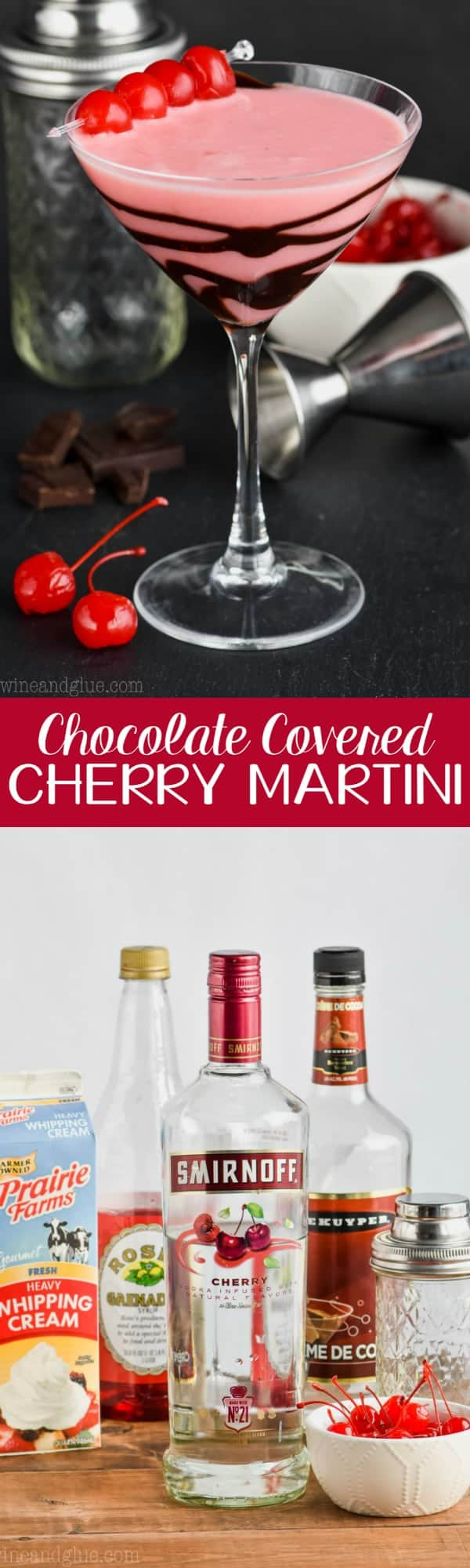 martini glass drizzled with chocolate and full of chocolate covered cherry martini