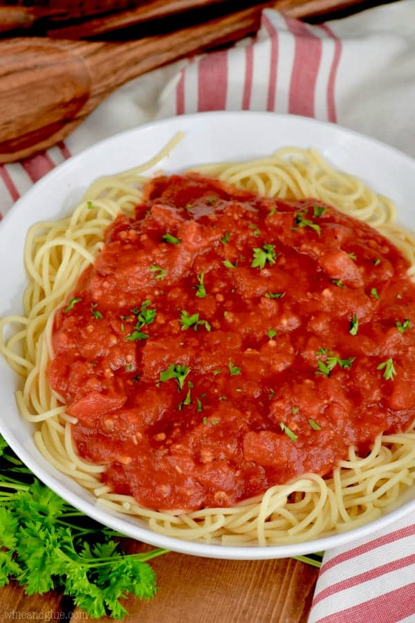 Made simple with cans of tomatoes and delicious spices and herbs, your family will love this spaghetti sauce recipe!