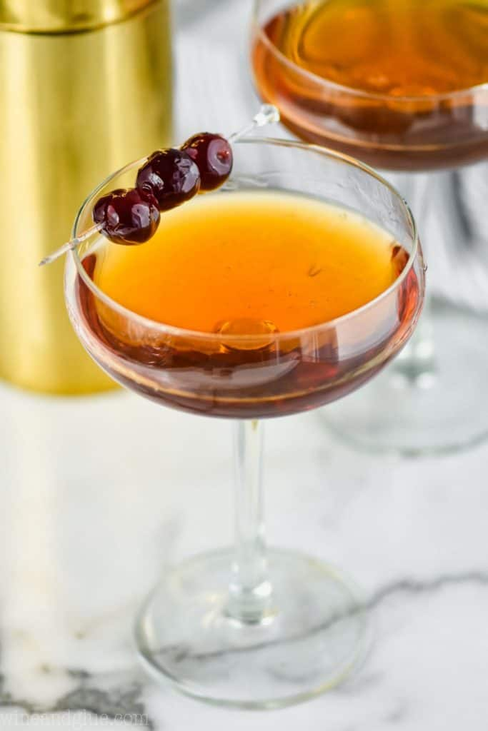 close up of a Manhattan in a coupe glass