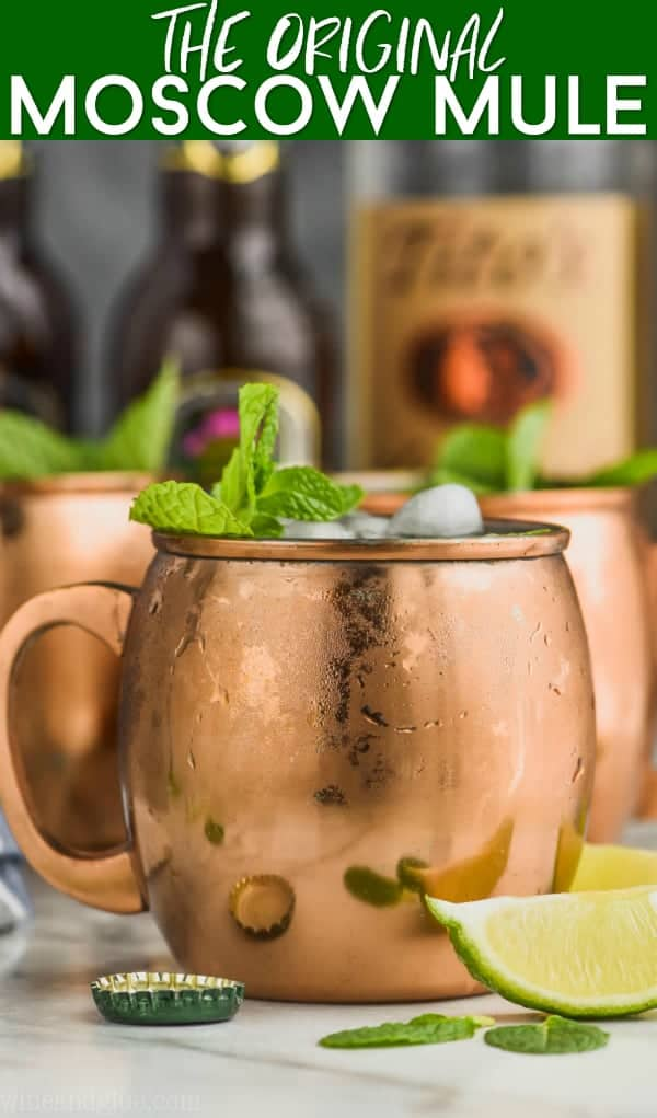 moscow mule in sweaty copper mug garnished with mint and lime