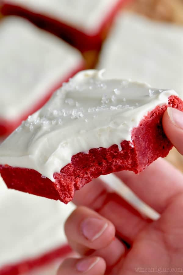 These Red Velvet Bars are decadent, delicious, and topped with the best cream cheese frosting! If you love red velvet cake, then these red velvet sugar cookie bars are the thing for you!