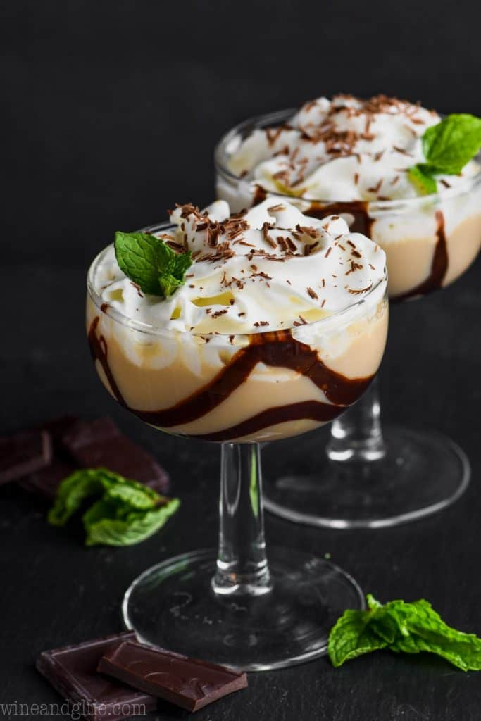 chocolate baileys martini in a glass lined with chocolate