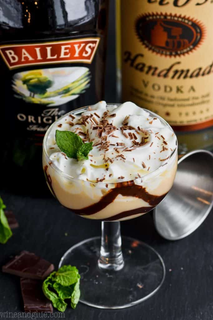 baileys chocolate martini with baileys and titos bottles