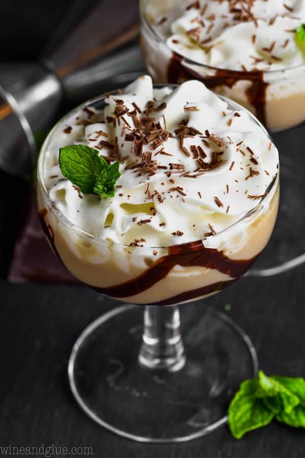 chocolate baileys martini in a small glass garnished with chocolate