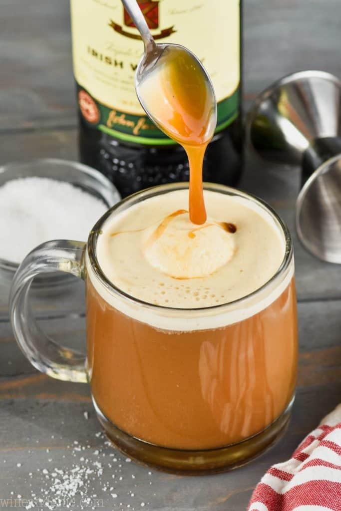 pouring caramel onto salted caramel irish coffee recipe