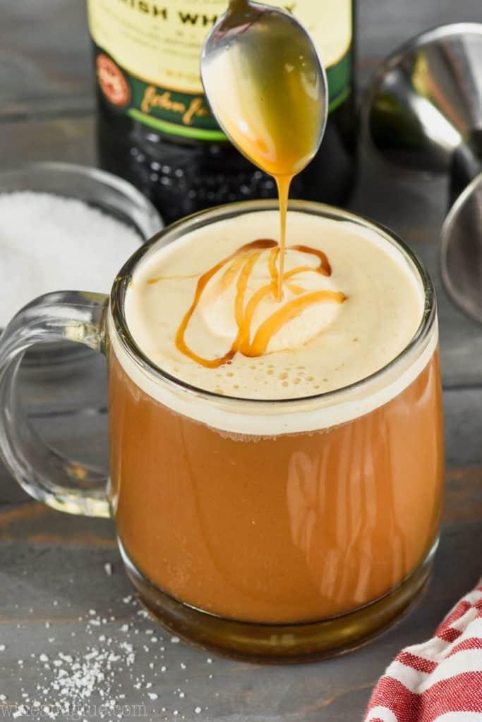 a drizzle of caramel going over a creamy irish coffee recipe