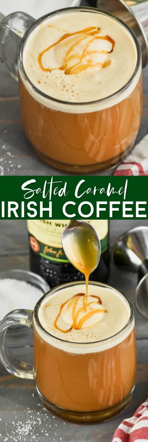 collage of photos of salted caramel irish coffee recipe