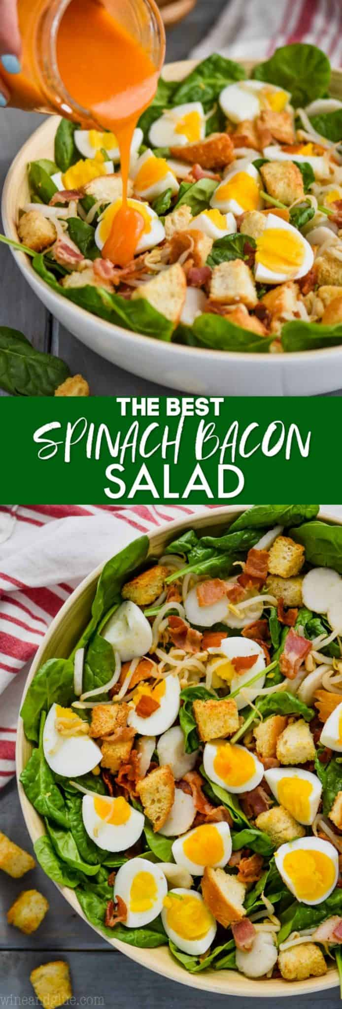 collage of photos of the best spinach salad recipe