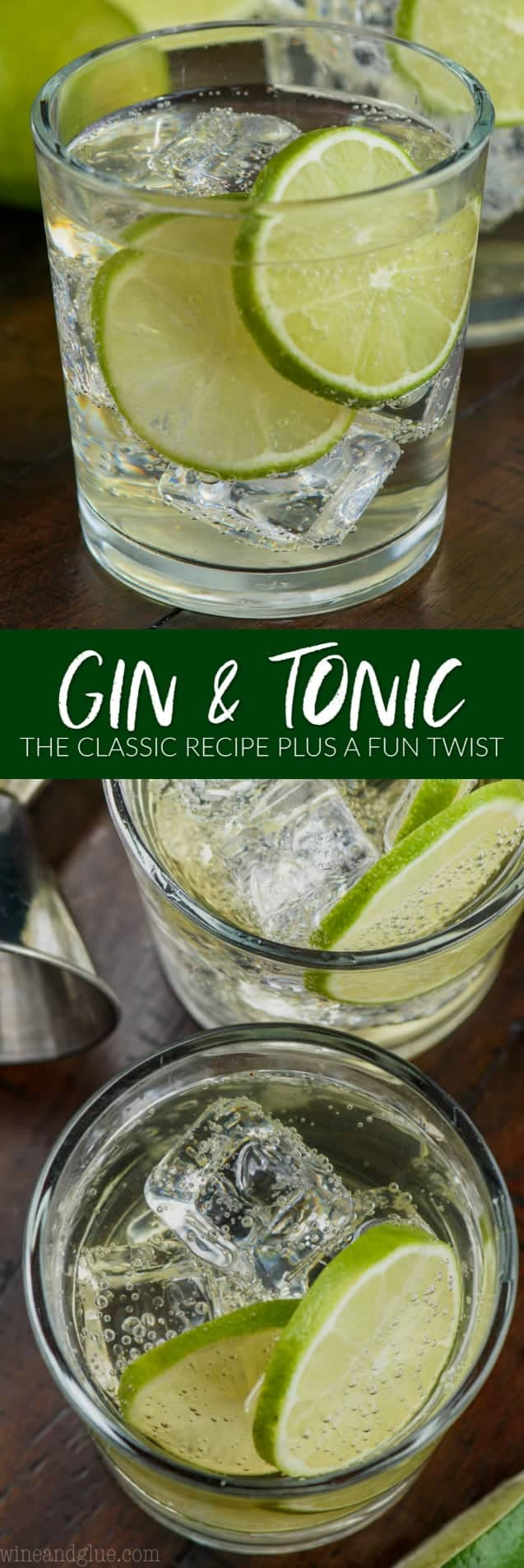 collage of photos of gin and tonic recipe