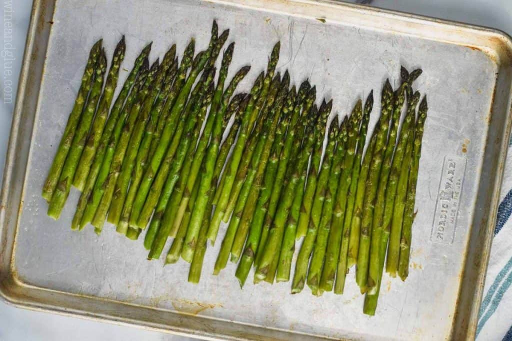 oven roasted asparagus on a baking sheet