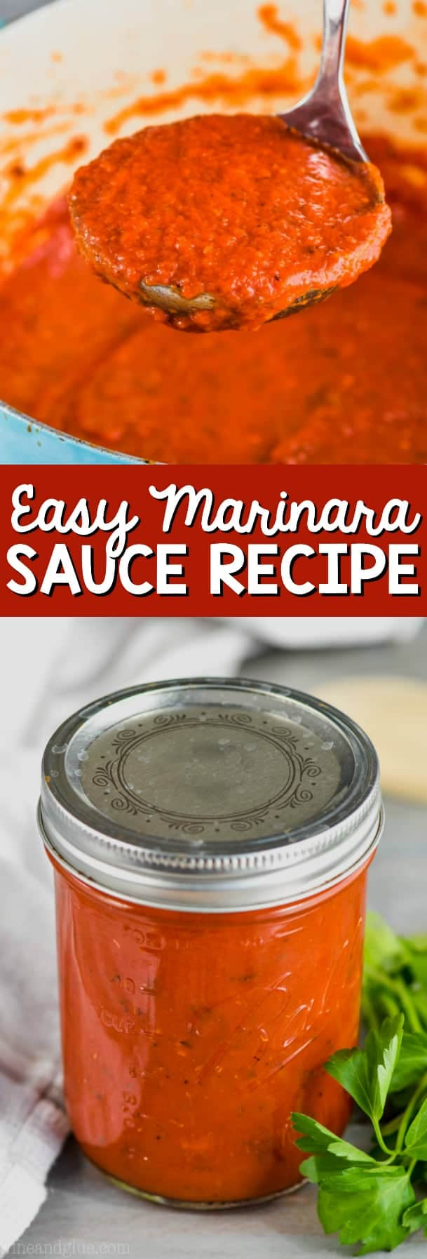 marinara sauce recipe with tomato sauce in a dutch oven
