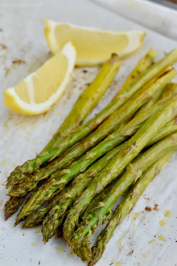 This Oven Roasted Asparagus Recipe is only five minutes of preparation! The perfect weeknight side dish recipe!