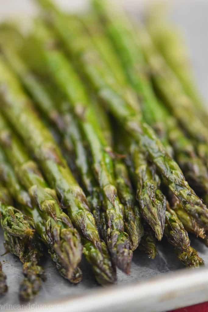 close up of asparagus that was cooked in the oven