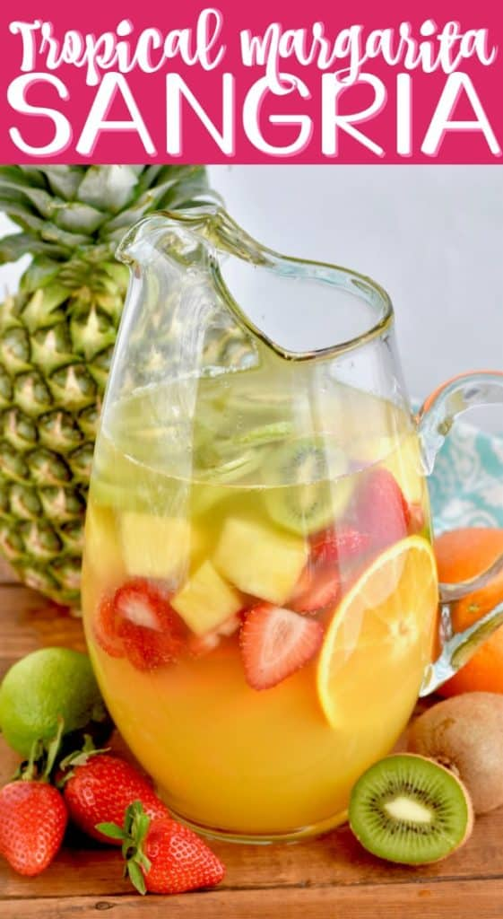 pitcher of tropical margarita sangria filled with fruit