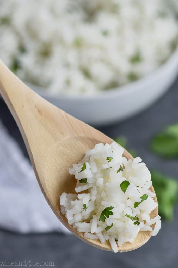 spoonful of cilantro lime rice