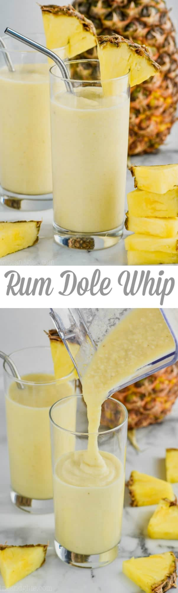 pouring dole whip float into a tall glass