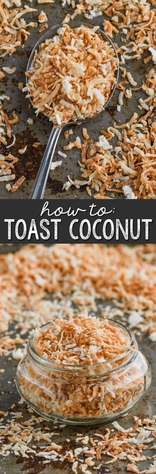 Spoonful of toasted coconut flakes on a baking sheet.
