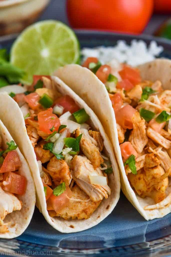 close up picture of instant pot taco chicken with pico de gallo recipe