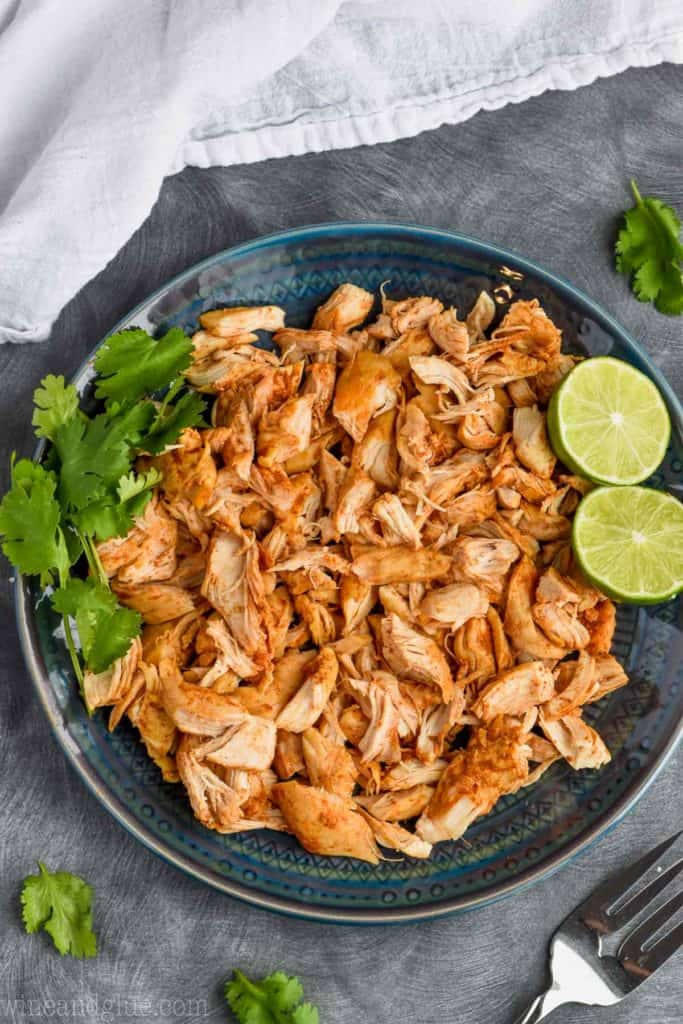 overhead view of pressure cooker shredded taco chicken