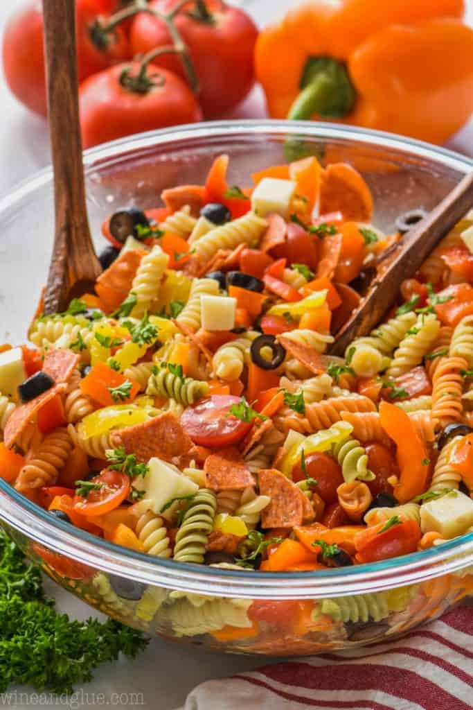 large bowl of Italian pasta salad