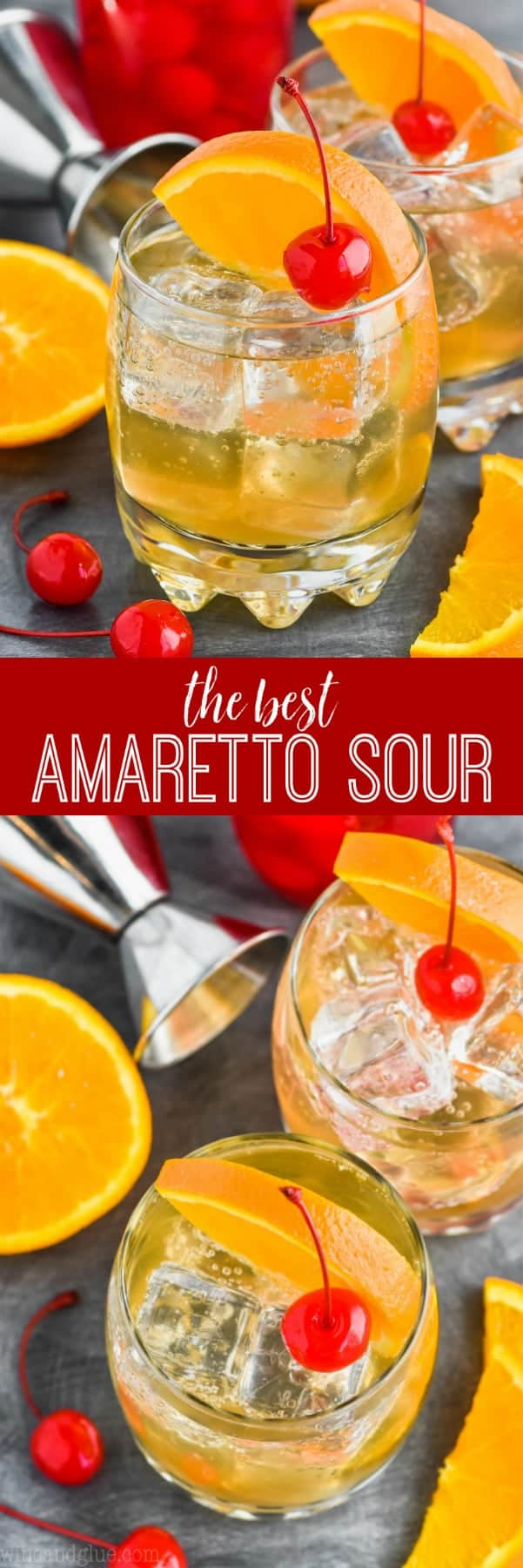 collage of amaretto sour recipe