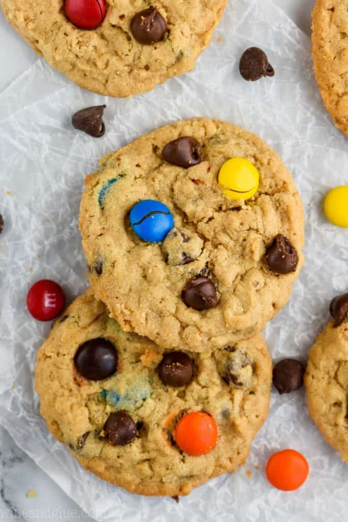 over head view of monster cookie recipe
