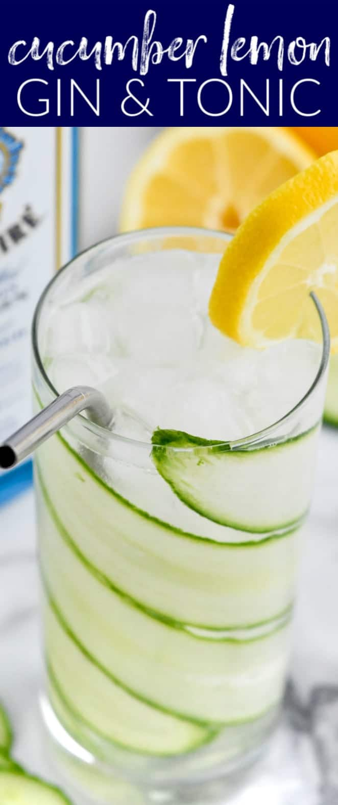 overhead view of a high ball glass with cucumber lemon gin and tonic and garnished with a lemon slice