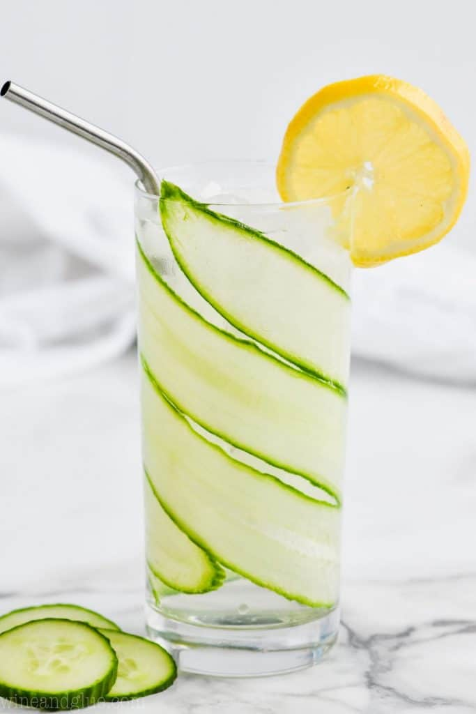 high ball glass with a cucumber slice garnish wrapped around the inside and a lemon slice as a garnish for a cucumber lemon gin and tonic